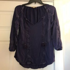 Lucky brand blue boho knit peasant top size M